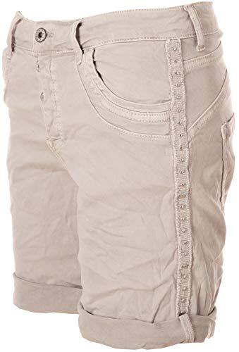 Basic.de Damen Bermuda-Shorts mit Metall-Nieten Melly & CO 6016 Hellgrau S