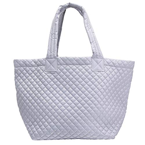 ClaraNY Comfortable light weight quilted Tote bag with Pouch water repellent light Gray