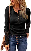 FARYSAYS Women's Lace Crochet Long Sleeve Button Henley Shirts Slim Fitting Casual Tops Blouse