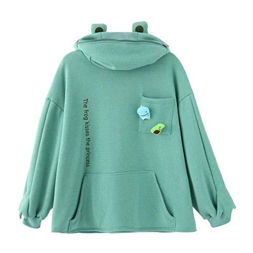 Godob Sudadera de forro polar con capucha de rana con capucha de invierno cálida gruesa suelta de gran tamaño sudadera con capucha para adolescentes