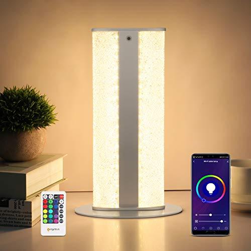 Wifi LED Tischlampe Dimmbar, 8W RGB Nachttischlampe Dimmbar mit Fernbedienung und App-Steuerung, Nachtlicht mit Warmweiß Licht & Farbwechsel & Timer-Funktion Für Schlafzimmer Wohnzimmer Kinderzimmer