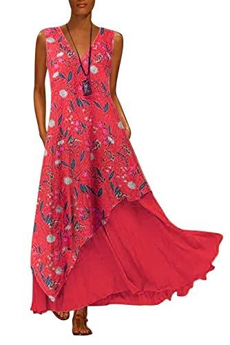 Tunique Lin Femme Longue Grande Taille Boheme Hippie Chic Robe sans Manche Col V Kaftan Arabe Caftan Ethnique Vintage Patchwork Swing Robe Ample de Soiree Plage Cocktail Bureau Casual Mode Maxi Dress