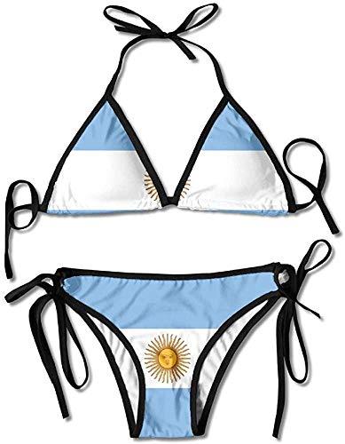 Garlincao Flagge von Argentinien Womens Wrap Top Bottom Badeanzug Bikini Bademode Zweiteiliger Badeanzug