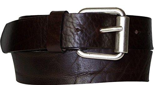 Fronhofer Ceinture à boucle à rouleau, véritable cuir naturel au tannage végétal, 17432, Taille:Taille 95 cm, Couleur:Brun foncé