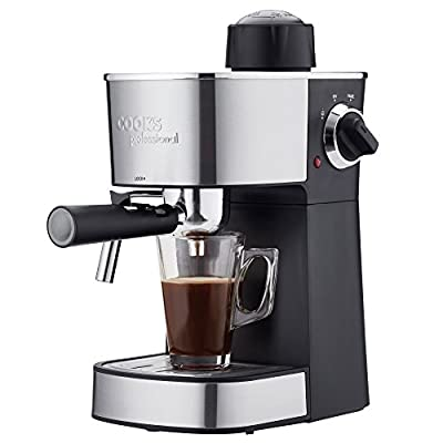 Cooks Professional Espresso Machine Barista Coffee Maker with Milk Frothing Arm & Accessories 800W (Black)