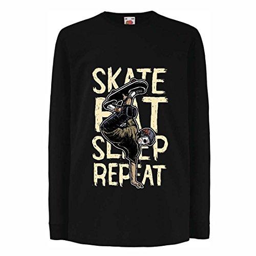 Camisetas de Manga Larga para Niño Eat-Sleep-Skate-Repeat para el Amante del monopatín, Regalos del Skater, Ropa Que anda en monopatín (5-6 Years Negro Multicolor)