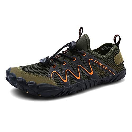 Parcclle 1718 - Zapatillas de playa para hombre y mujer, secado rápido, para surf, natación, descalzo, color Verde, talla 45 EU