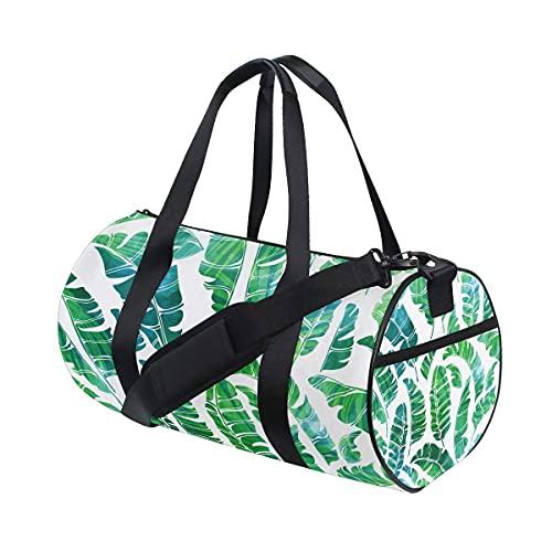 Bolsa de deporte para gimnasio, diseño de hojas de plátano tropicales, con compartimento para zapatos y bolsillo húmedo para mujeres o hombres