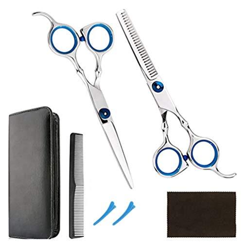Lurrose 1 Set / 7Pcs Ciseaux de Coupe de Cheveux Professionnels Kit de Ciseaux de Coupe de Cheveux avec Ciseaux de Coupe Peigne Clips Chiffon de Nettoyage Étui de Rangement pour Un Usage