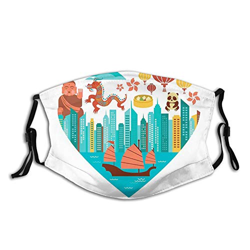 Nisdsgd Fashion 3D Face Protect Printed Gesichts-Mundschutz,Hong Kong Skylines Built in Heart Shape Frame Dragon Panda and a Sailing Boat