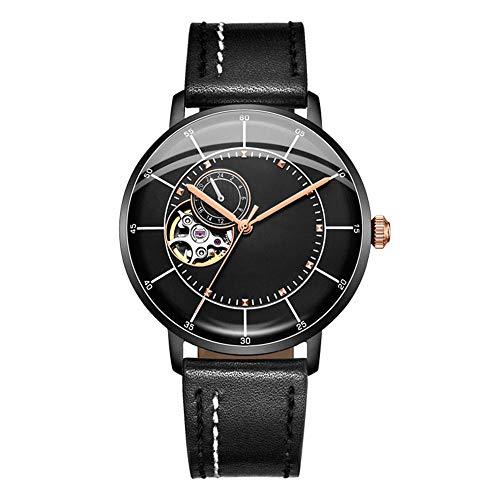Heren Horloges, Self-Wikkeling Mechanische Skelet Horloges Waterproof Zakelijk Casual Horloges Male Clock Echt Lederen Band