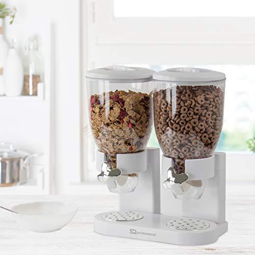 SQ Professional - Dispensador Doble para Cereales y Otros Alimentos, de plástico, Color Blanco