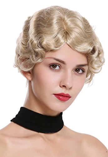 WIG ME UP ® - LD501-22 Parrucca Donna Corta Anni 20 Swing Charleston Ondulata Riga Biondo