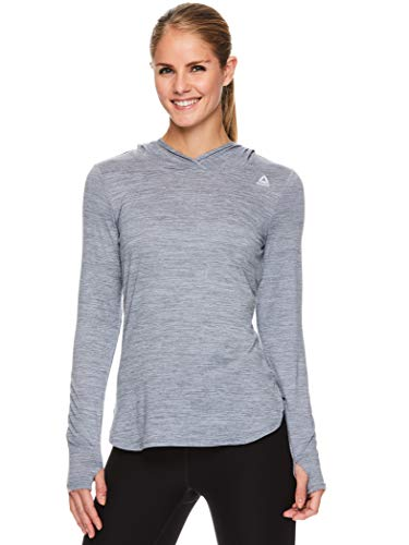 Reebok Women's Legend Running Hoodie & Gym Sweater - Lightweight Training & Workout Top for Women - Legend Quietshade Grey Heather, Large