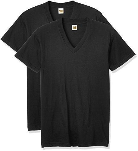 [グンゼ] インナーシャツ G.T.HAWKINS BASICPACKT-SHIRT 綿100% VネックTシャツ 2枚組 HK10152 メンズ ブラック 日本L (日本サイズL相当)