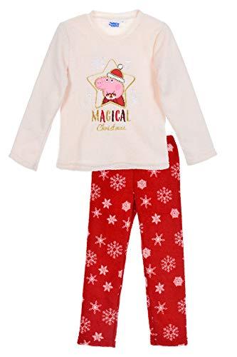 Peppa Pig Kinder Fleece Schlafanzug Gr.98-128 Weihnachten Pyjama neu!, Größe:104, Farbe:weißes Oberteil