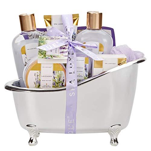 Bad Geschenkset, SPA LUXETIQUE Beauty Set 8-teiliges Bade- und Dusch Set Lavendel Duft, Muttertags Bade- und Pflegeset mit Deko Badewanne, Wellness Set Für Frauen, Perfekte Geschenke für Mütter