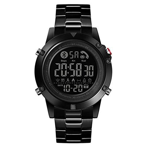 LXF JIAJU Reloj Inteligente para Hombres Ritmo Cardíaco Sleep Monitor SmartWatch Moda Relojes para Hombres Watch Watch Android iOS Smart Band Mens (Color : Black)