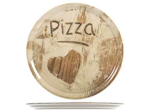 SATURNIA Set 6 Piatti Pizza Assortiti con disegno a forma di Cuore, Porcellana, 33 cm