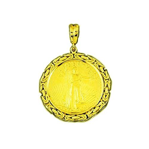 TEX 22K Fine Gold 1 Oz American Eagle Coin -14K Frame Byzantine Pendant 5940(Random Year Coin)