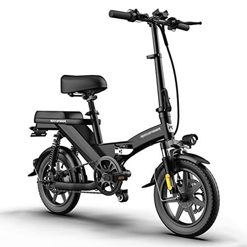 ZXQZ Bicicletas Eléctricas Plegables para Adultos, Bicicleta Eléctrica para Viajeros de 14 '' con Batería de Iones de Litio Extraíble, Motor Sin Escobillas y Velocidad Ajustable Inteligente