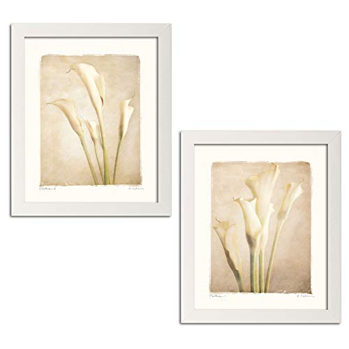 Gango Home Décor Poetica I Lovely, White Calla Lily Set; Floral Decor; Two 8x10in Framed Fine Art Prints; Ready to Hang!