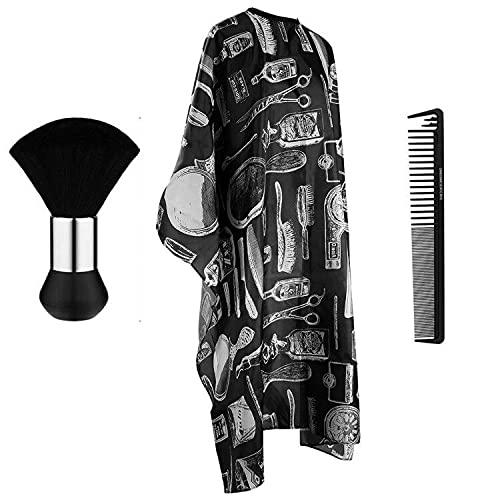 Haarschneideumhang für Erwachsene Friseurumhänge Unisex Umhang Friseur zum Haare Schneiden Friseurumhang Salon Barber Cape Umhänge Friseur mit Nackenpinsel und Haarschneidekamm, Schwarz