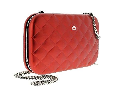 Ögon QLB-Red Sac minaudière Quilted Lady bag Aluminium matelassé Rouge