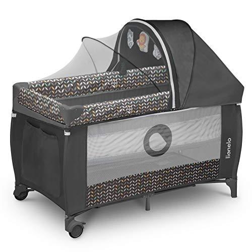 Lionelo Sven Plus 2in1 Reisebett Baby Laufstall Baby ab Geburt bis 15kg, Moskitonetz, Tragetasche, zusammenklappbar (Grey Scandi) - 2