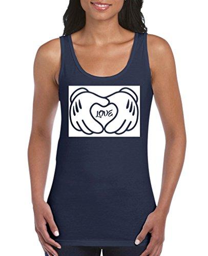 Comedy Shirts - Mickey Love Hands NEGATIV - Damen Tank Top - Navy/Weiss Gr. XL