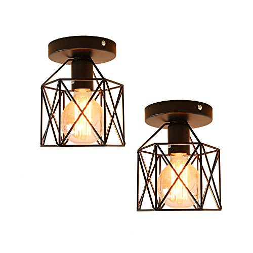 ANIU Semi Flush Mount Ceiling Light Fixture for Farmhouse Kitchen, Hallway, Porch, Black Rustic Industrial Style, Ceiling Light Covers for E26 Bulb. 2 Pack