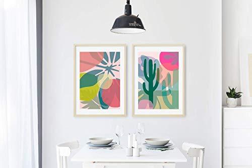 2 x Poster Tropicals / 2er Serie, Kunstdruck, Druck, Pflanze, Design, Kunst, Geschenk, Deko, Wohnzimmer, Blatt, Dschungel, Blau, Grün, Din A2