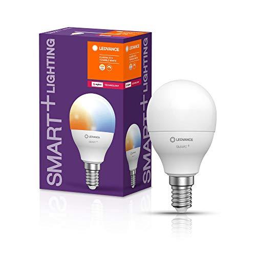 LEDVANCE Smarte LED-Lampe mit ZigBee Technologie, Sockel E14, Dimmbar, Lichtfarbe änderbar (2700-6500K), ersetzt Glühlampen mit 40 W, SMART+ Mini bulb Tunable White, 1er-Pack