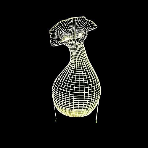 CMMT Lámpara de escritorio Jarrón LED colorido gradiente 3D estereoscópico táctil remoto USB noche noche escritorio imaginativamente decorado regalo de cumpleaños 20 * 13 cm