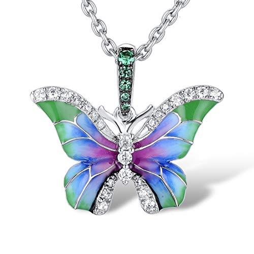 Namana Collar con Colgante de Mariposa para Mujer. Collares de Plata de Ley 925 para Mujer con...