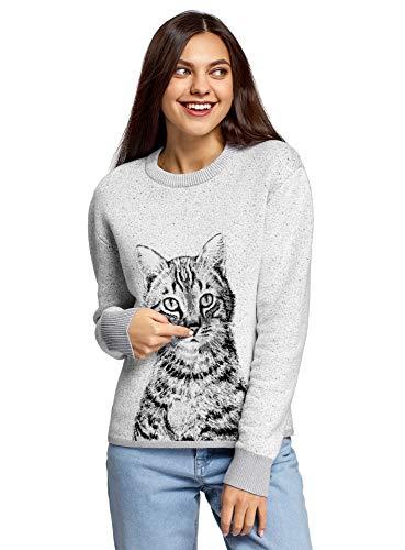 oodji Ultra Mujer Jersey de Punto con Dibujo de Gato, Gris, ES 40 / M
