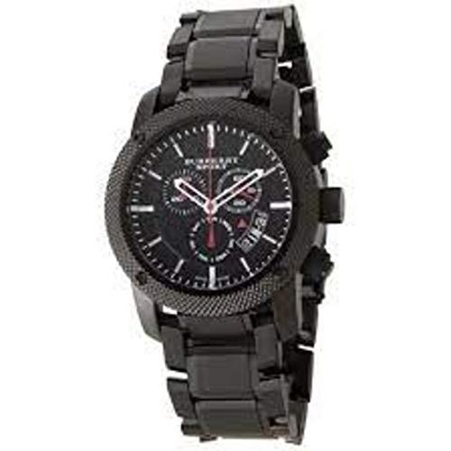 Swiss Burberry Deporte Reloj Cronógrafo Hombres Negro Acero inoxidable negro esfera fecha BU7703