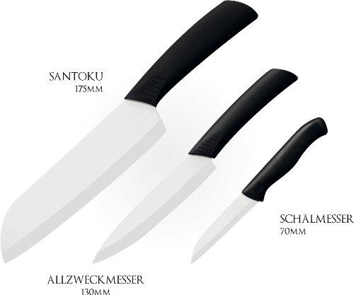 Keramik Messer Set Santoku-, Allzweck- und Schälmesser