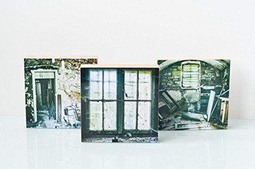3er Set Lost Place alte Villa Foto auf Holz, im Quadrat, 10 x 10 cm