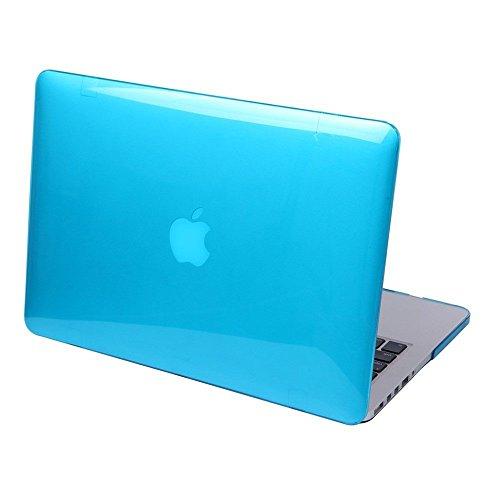 Detuosi - Custodia per Macbook Air 13,3' (modello: A1466/A1369), design lucido, rigida, trasparente, colore: arancione Azzurro acqua