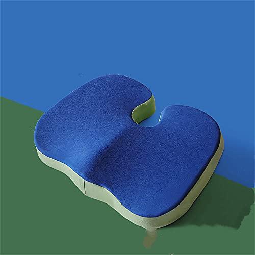 XIAOHAO Alfombrilla de Oficina de látex Natural: con un cojín para Mejorar la Postura al Sentarse y aliviar el Dolor de Hombro, cojín de Espuma con Memoria 45 * 35 cm Verde Azul