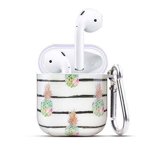 HIDAHE Airpod 1 Hüllen, Airpods 2 Skin, Apple Airpod 2 Hülle, süße Luxus-harte Designer-Schutzhülle für Airpods 2 für Mädchen, Kinder, kompatibel mit Apple AirPods Ladehülle 2 und 1, grüne Ananas