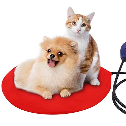 Cat Heating Pad,self Heating cat pad with Safe Waterproof Adjustable Warming Mat, Heated Dog pad with Chew Resistant Cord and Removable Cover for Cats and Small Dogs(Round, Red)