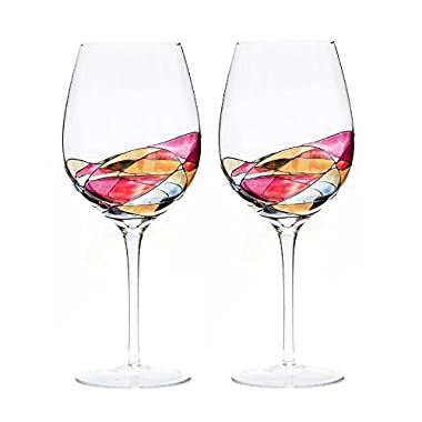 ANTONI BARCELONA Large Wine Glass - Unique Hand Painted Gifts for Women, Men, Wedding, Anniversary, Couples, Engagement (2) SET 2