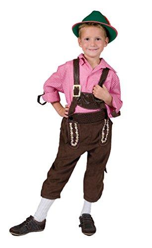 Karneval-Klamotten Kostüm Lederhose Junge Tiroler Marcus Bayernhose Trachten-Hose Kinder Oktoberfest Jungenkostüm 116
