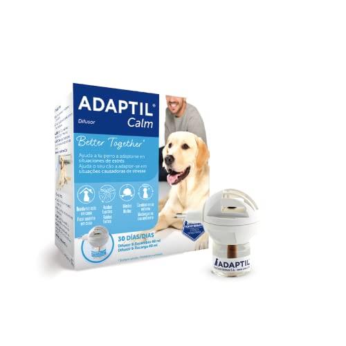 ADAPTIL Calm - Antiestrés para perros - Solo en casa, Miedos, Ruidos fuertes, Adopción - Difusor + Recambio 48ml ⭐
