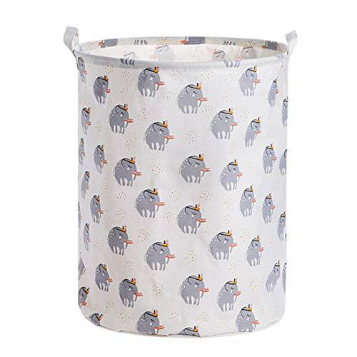 ZXXFR Wasverzamelaar, opvouwbare wasmand, schattige kleine olifanten, wasmand met handgreep, opvouwbaar, eenvoudig geschikt voor slaapkamer, wasgoed