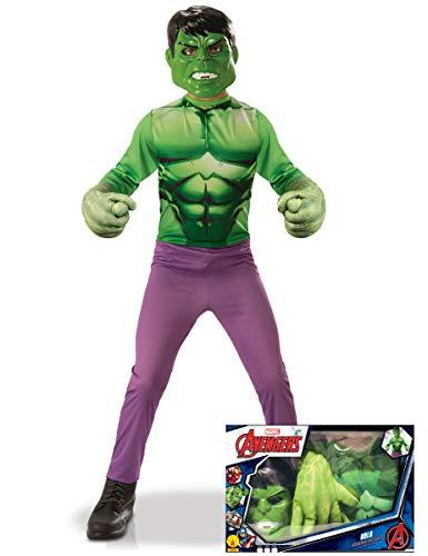 Generique - Cofanetto Costume Hulk per Bambino con Guanti giganti 5/6 Anni (105/116 cm)