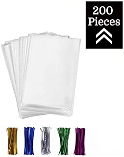 200 Pcs 3x4 Clear flat Cello/Cellophane Treat Bags for Gift Wrapping, Bakery, Cookie, Candies, Dessert, Party Favors Packaging, with color Twist Ties!