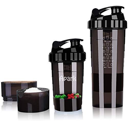 Apark Shaker à protéines avec 3 couches Twist and Lock Storage – Bouteille d'eau de sport sans BPA avec bouteille Twist & antidérapante 500 ml